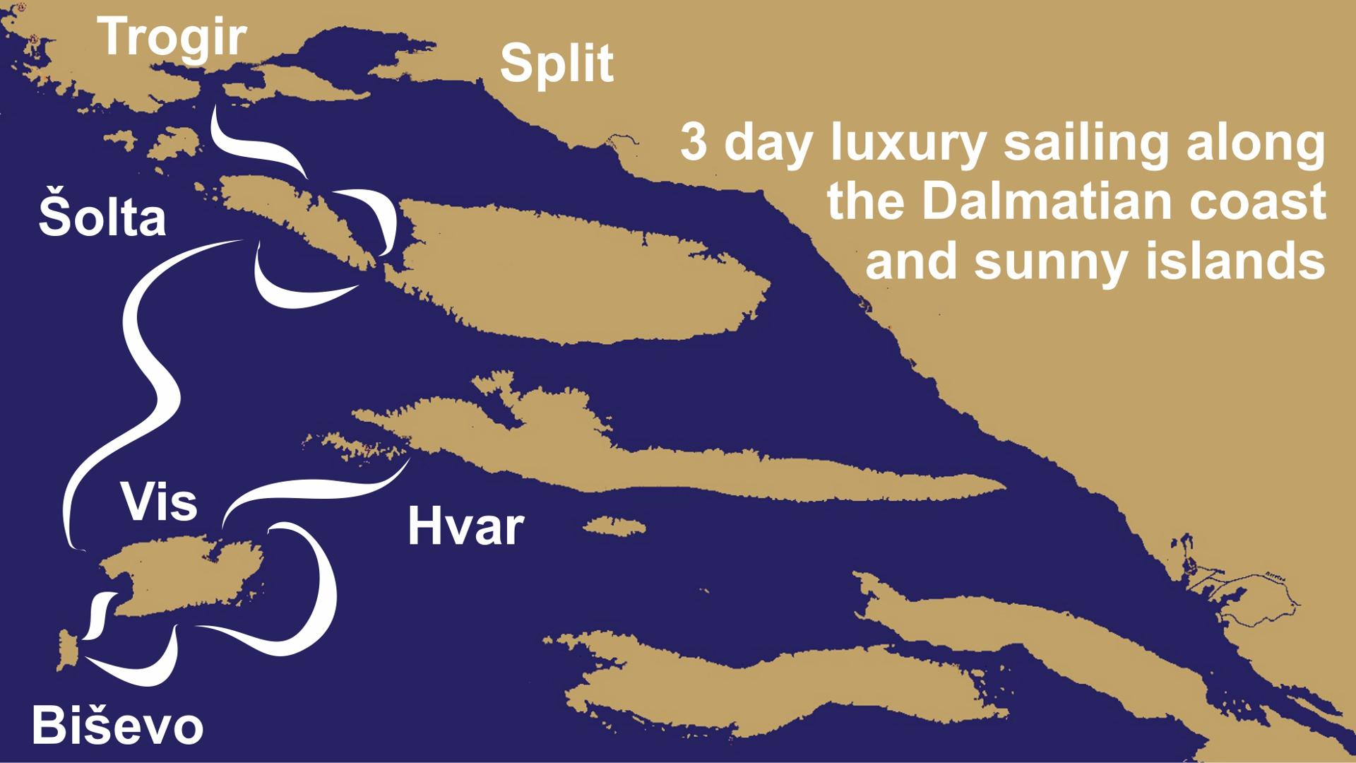3 day luxury sailing along the Dalmatian coast and sunny islands