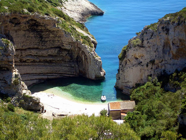 Stiniva beach on the Croatian island of Vis