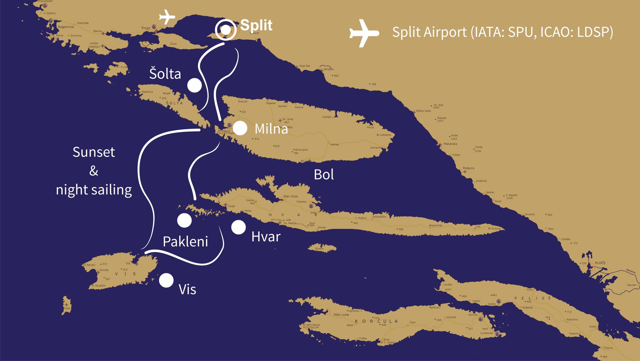 2 Days Split Sailing Millennium Route