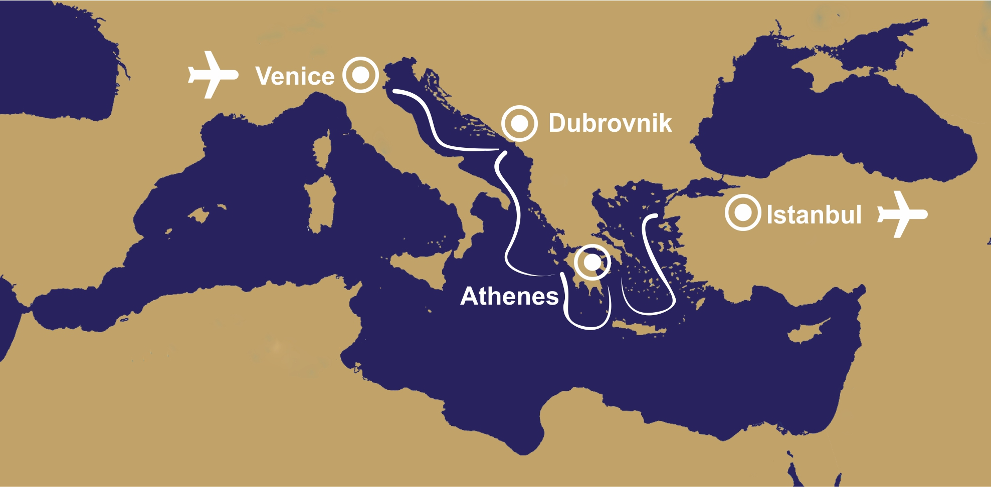 28 days private all inclusive sailing routes DIVA, Dubrovnik, Istanbul, Venice, Athens